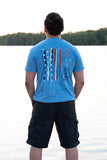 Snow Heather Blue Crew Neck with Red, White, and Navy Blue Patriotic Design - Whimsical Wolf