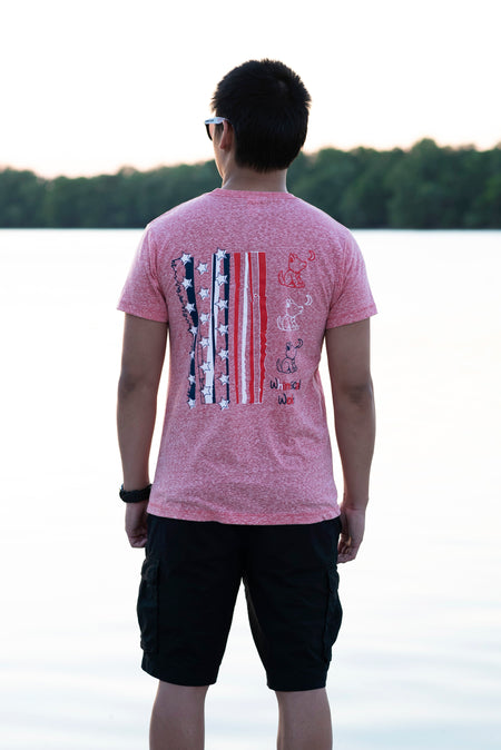 Snow Heather Gray Crew Neck with Red, White, and Navy Blue Patriotic Design