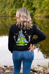 Black Frankenstein Halloween Long Sleeve Shirt - Whimsical Wolf