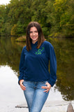 Navy Blue Long Sleeve Hoodie with Celestial Pattern - Whimsical Wolf