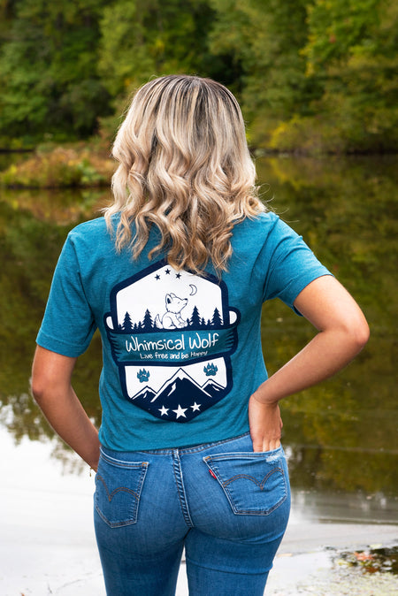 Ice Blue Short Sleeve with Vintage Whimsical Wolf Logo
