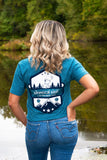 Heather Teal Blue Short Sleeve Shirt with White and Blue Vintage Badge Design - Whimsical Wolf