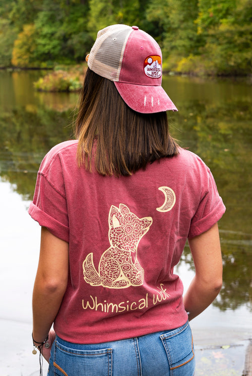 Maroon Short Sleeve with Mandala Pattern - Whimsical Wolf