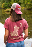 Distressed Maroon Trucker Hat with Sunset Badge Logo - Whimsical Wolf