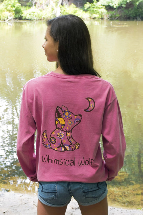 Fuchsia Long Sleeve with Celestial Pattern - Whimsical Wolf