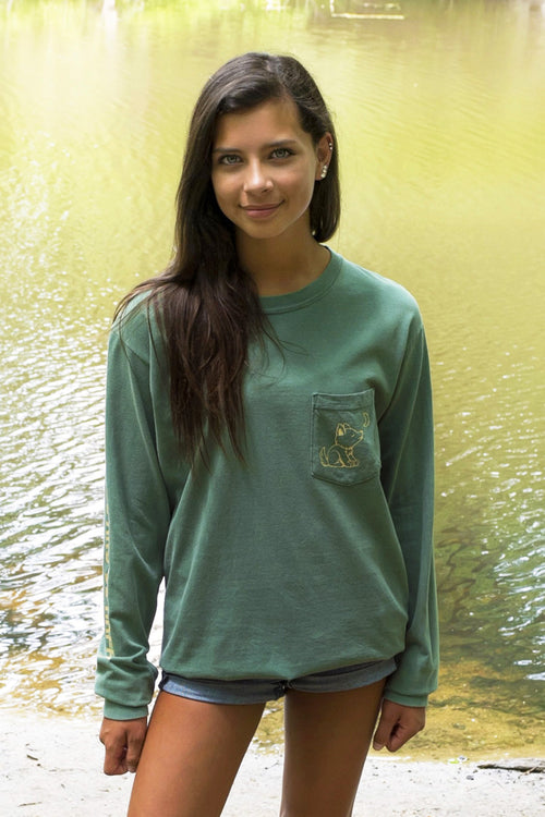 Nature Green Long Sleeve with Vintage Whimsical Wolf Logo - Whimsical Wolf