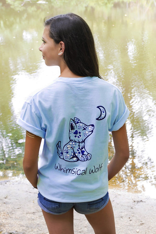 Carolina Blue Short Sleeve with Paw Print Pattern - Whimsical Wolf