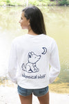 White Long Sleeve with Navy Blue Simple Distressed Pattern - Whimsical Wolf