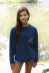 Navy Blue Long Sleeve with White Simple Distressed Pattern - Whimsical Wolf