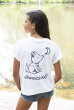 White Short Sleeve with Navy Blue Simple Distressed Pattern - Whimsical Wolf