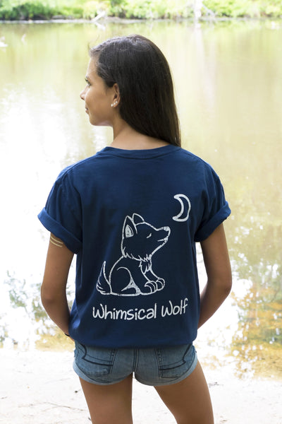 Navy Blue Short Sleeve with White Simple Distressed Pattern - Whimsical Wolf