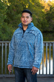 Navy Blue Pullover Sherpa with Chevron Wolf Embroidered Design - Whimsical Wolf