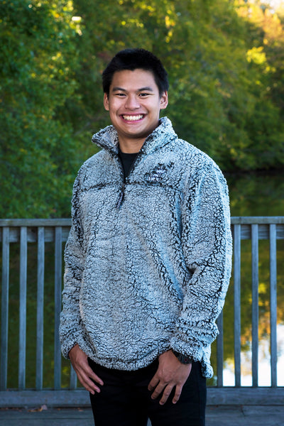 Smoke Grey Pullover Sherpa with Chevron Wolf Embroidered Design - Whimsical Wolf