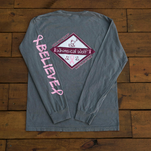 Breast Cancer Grey Long Sleeve with Diamond Breast Cancer Design - Whimsical Wolf