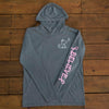 Breast Cancer Grey Long Sleeve Hoodie with Diamond Breast Cancer Design - Whimsical Wolf