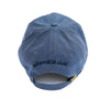 Denim Blue Baseball Cap with Embroidered Wolf Logo in White & Navy Blue - Whimsical Wolf