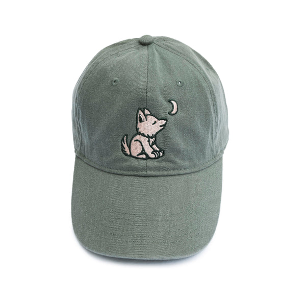 Khaki Green Baseball Cap with Embroidered Wolf Logo in Salmon & Hunter Green - Whimsical Wolf