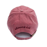 Brick Red Baseball Cap with Embroidered Wolf Logo in White & Burgandy - Whimsical Wolf