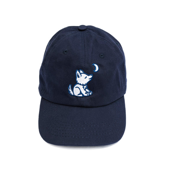 Navy Blue Baseball Cap with Embroidered Wolf Logo in Royal Blue and White - Whimsical Wolf