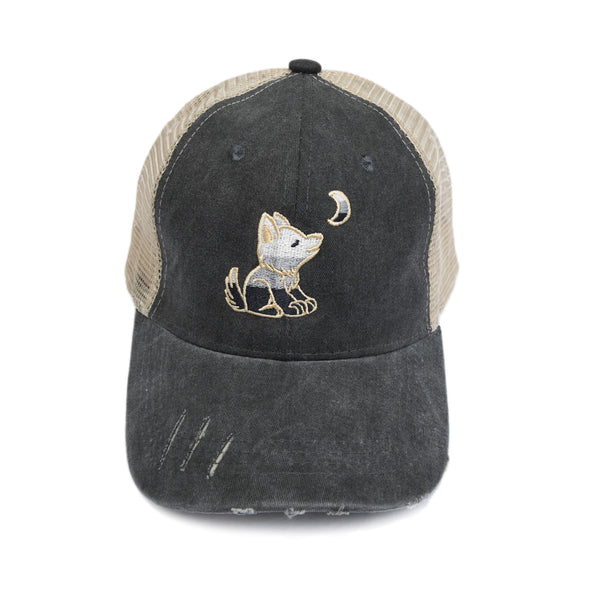 Distressed Grey Trucker Hat with Gradient Grey, Black and White Wolf Logo - Whimsical Wolf