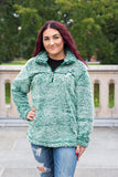 Hunter Green Pullover Sherpa with Chevron Wolf Embroidered Design - Whimsical Wolf