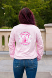 Breast Cancer Pink Long Sleeve with Circle Breast Cancer Design - Whimsical Wolf