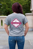 Breast Cancer Grey Short Sleeve with Diamond Breast Cancer Design - Whimsical Wolf