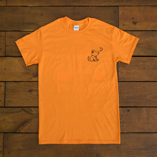 Orange Halloween Short Sleeve with Whimsical Wolf Witch design - Whimsical Wolf