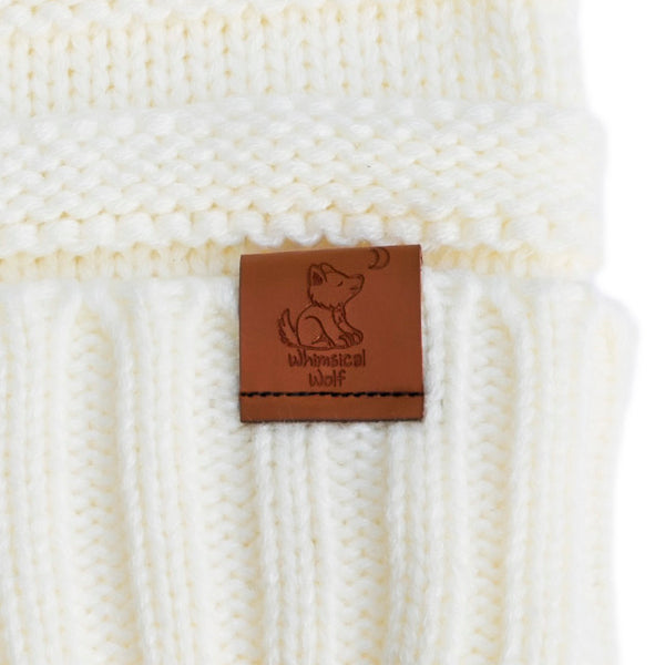 Ivory Knit Cuffed Beanie - Whimsical Wolf