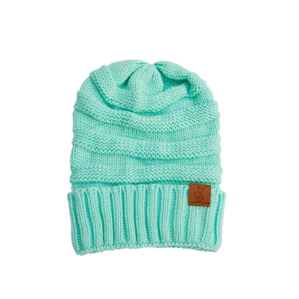 Light Turquoise Knit Cuffed Beanie - Whimsical Wolf