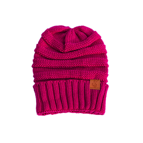 Pink Knit Cuffed Beanie - Whimsical Wolf