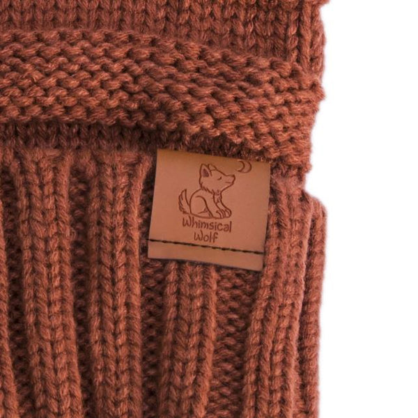 Burnt Orange Knit Cuffed Beanie - Whimsical Wolf