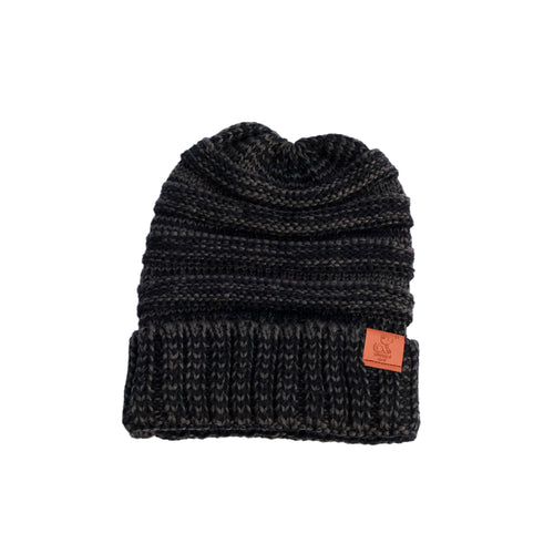 Triblend Heather Grey Black Knit Cuffed Beanie - Whimsical Wolf