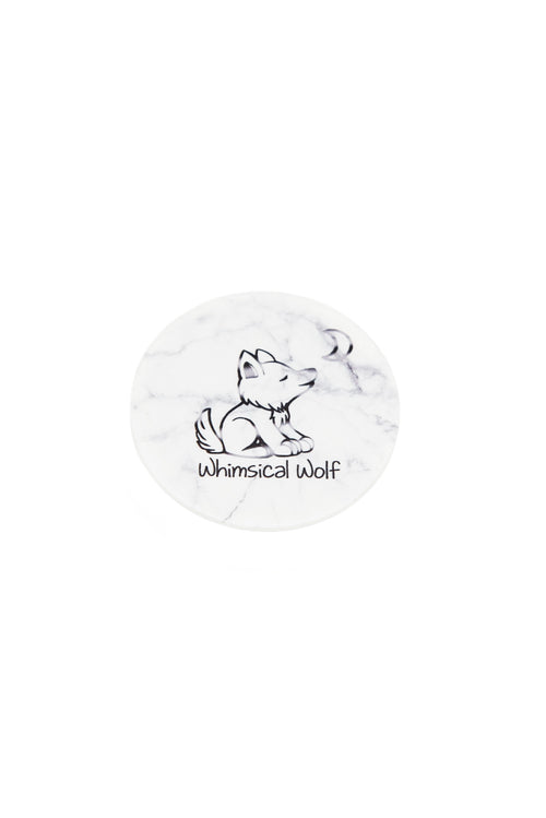 White Marble Phone Socket - Whimsical Wolf