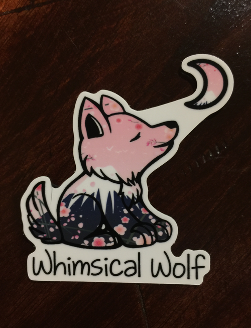 "Cherry Blossom 2.5"" x 2.5"" Sticker - Whimsical Wolf"