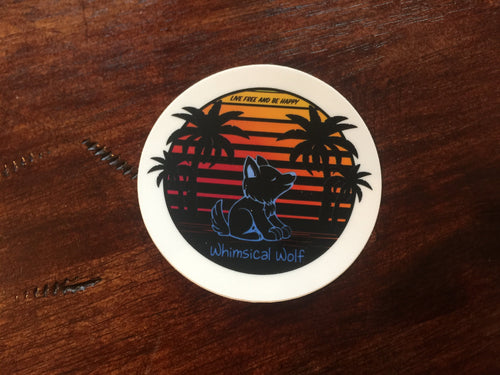 "California Retro Circle Design  Sticker 3"" x 3"" - Whimsical Wolf"