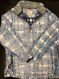 Navy Blue Plaid Sherpa with Whimsical Wolf Logo - Whimsical Wolf