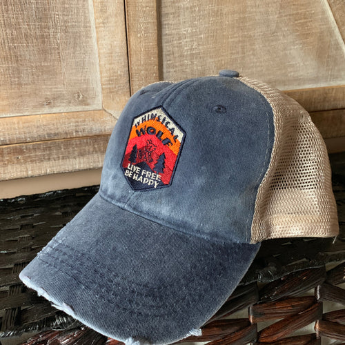 Distressed Denim Blue Trucker Hat with Outdoor Scene Logo - Whimsical Wolf