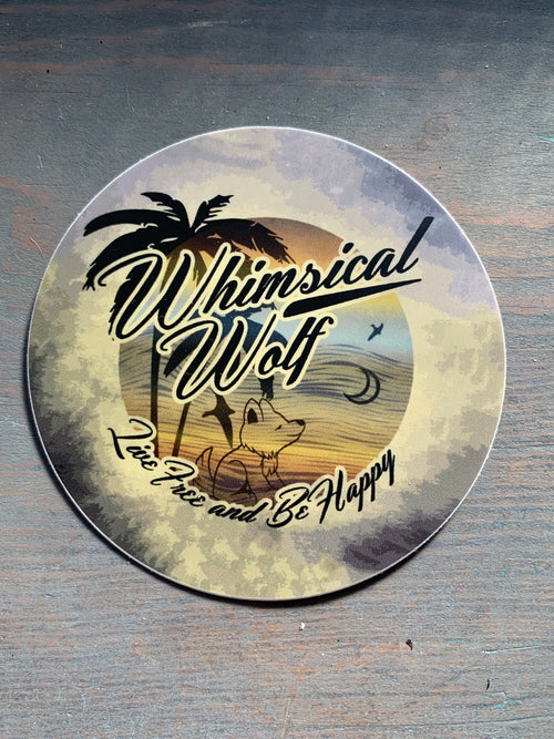 "California Vintage Retro Circle Design  Sticker 3"" x 3"" - Whimsical Wolf"