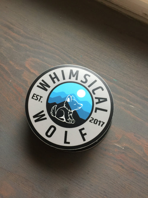 Circular Whimsical Wolf Sticker Vintage Blue - Whimsical Wolf