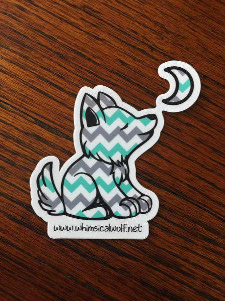 "Chevron Mint Green, Grey, and White Pattern Sticker 3.5"" x 3.5"" - Whimsical Wolf"