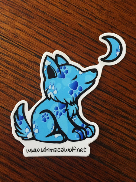"Columbia / Carolina Blue Paw Print Pattern Sticker 3.0"" x 2.75"" - Whimsical Wolf"