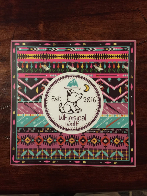 "Boho Aztec Sticker 6"" x 6"" - Whimsical Wolf"