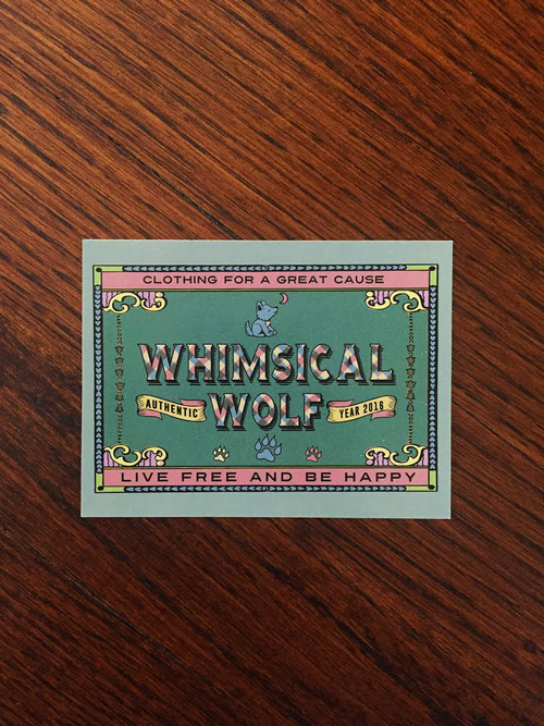 "Vintage Whimsical Wolf Rectangular Sticker 3.5 "" x  2.5"" - Whimsical Wolf"