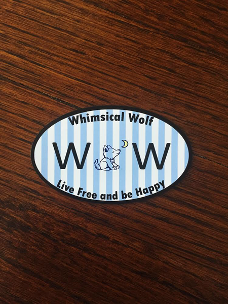 "Carolina Blue Oval Magnet 2.5"" x 2.5"" - Whimsical Wolf"