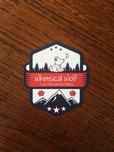 "Patriotic Olympic Whimsical Wolf Pattern Sticker 2.5"" x 2.5"""