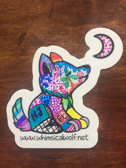 "Customizable White Whimsical Wolf Sticker 3.5"" x 3.5"" - Whimsical Wolf"