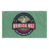 Dark Green Vintage Whimsical Wolf Flag 36
