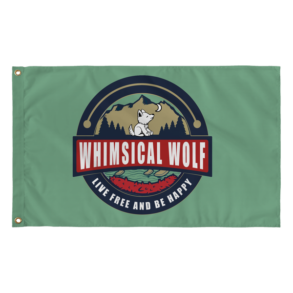 "Dark Green Vintage Whimsical Wolf Flag 36"" x 60"" - Whimsical Wolf"
