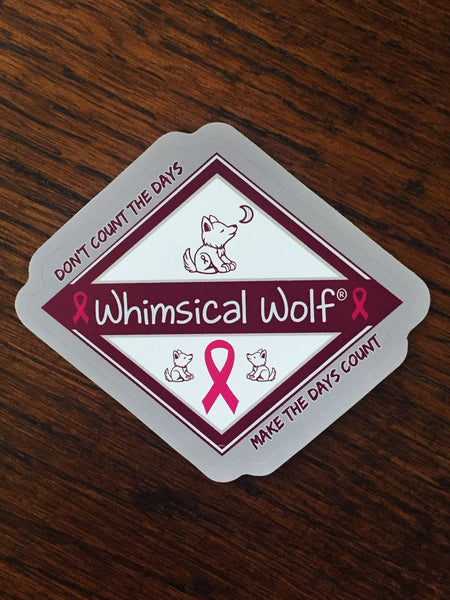 "Breast Cancer Diamond Design  Sticker 3.5"" x 3.5"" - Whimsical Wolf"